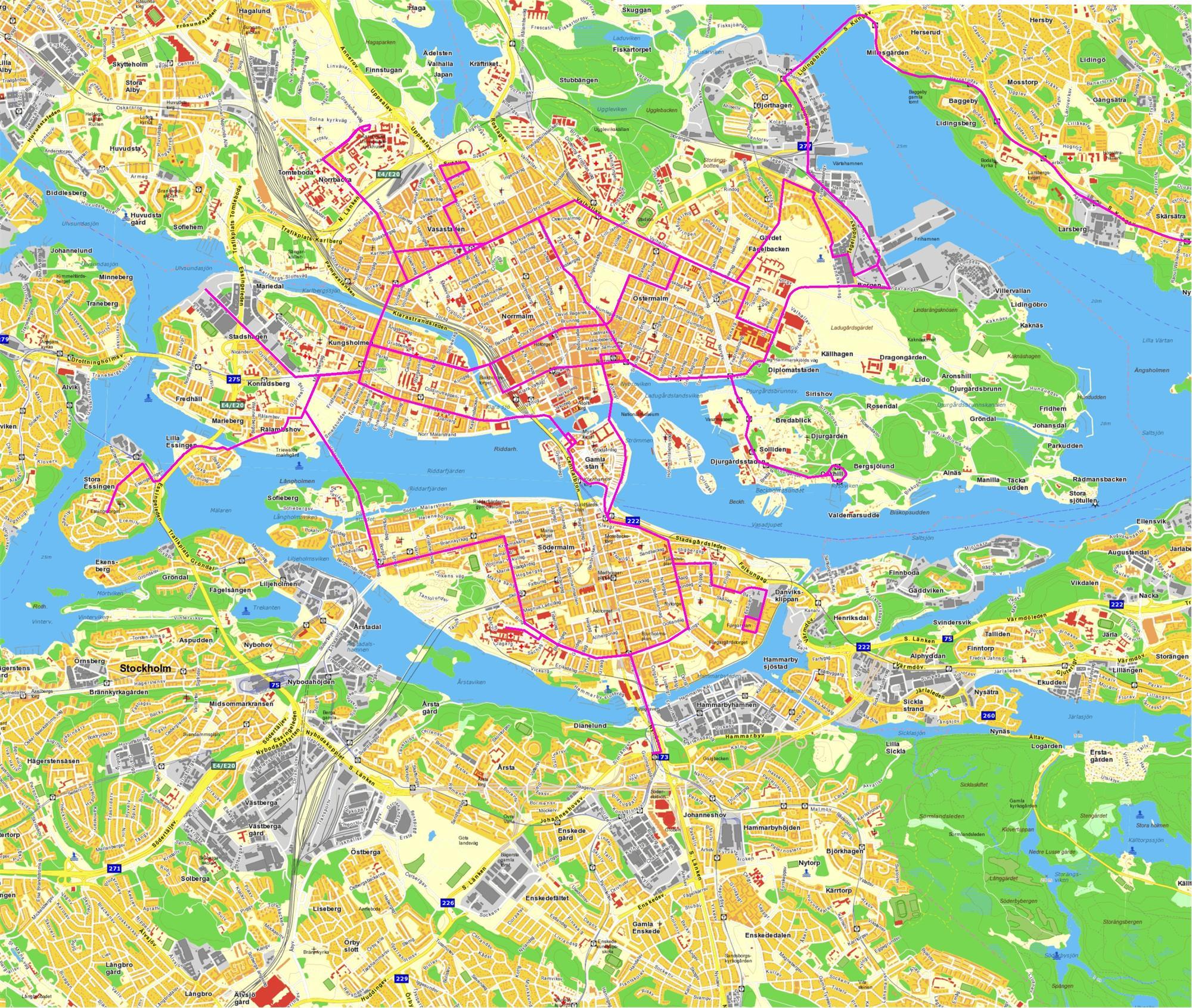 förorter stockholm karta Mina kartor över innerstans spårtrafik   YIMBY Stockholm förorter stockholm karta